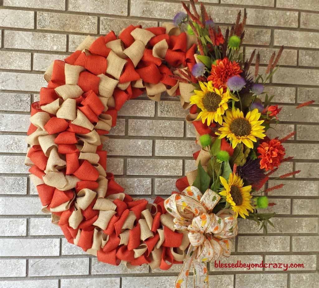 Diy Fall Burlap Wreath Blessed Beyond Crazy