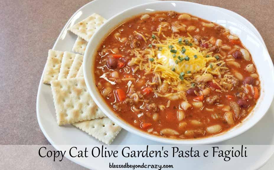 Copy Cat Olive Garden 39 S Pasta E Fagioli
