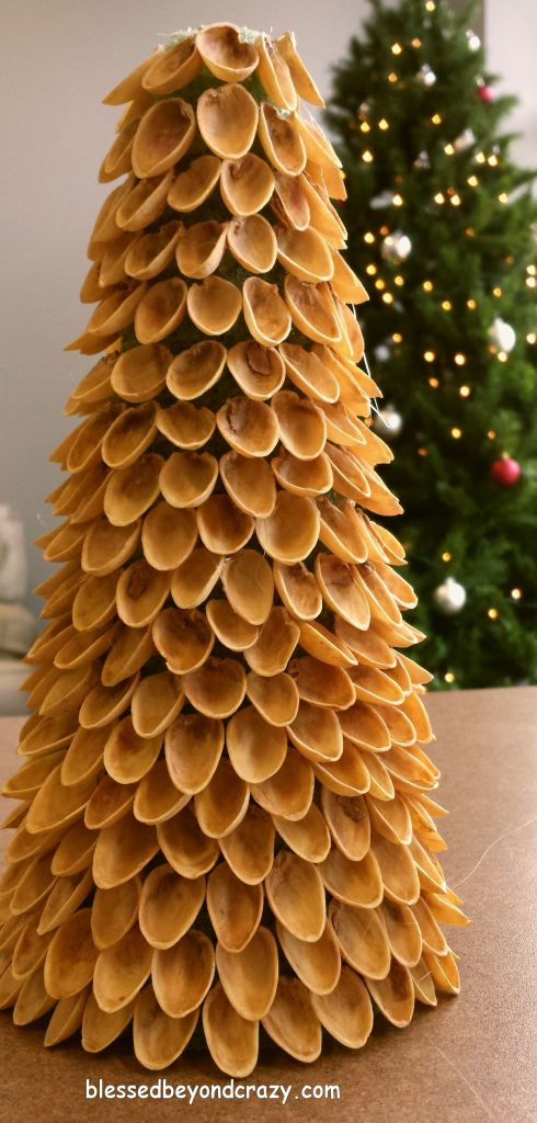 Diy mini pistachio christmas trees for Miniature christmas trees for crafts