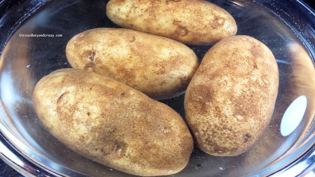 Potatoes + water + olive oil + kosher salt + aluminum foil.