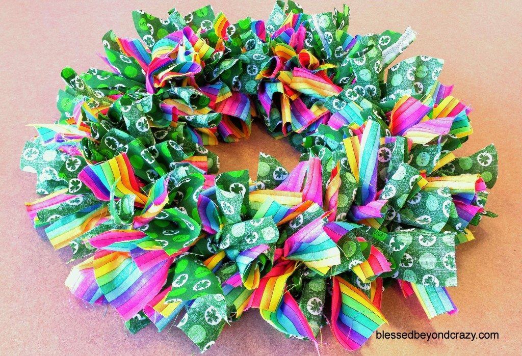 DIY St. Patrick's Day Rag Wreath