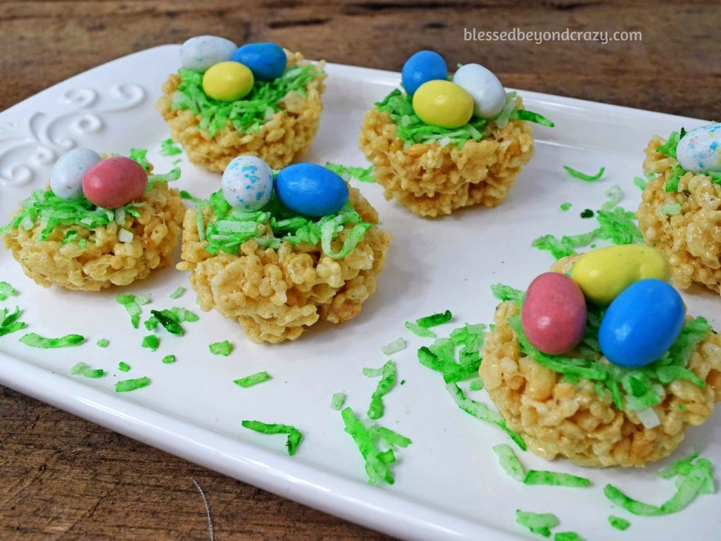 Close-up of No-Bake Rice Krispie Easter Egg Nests
