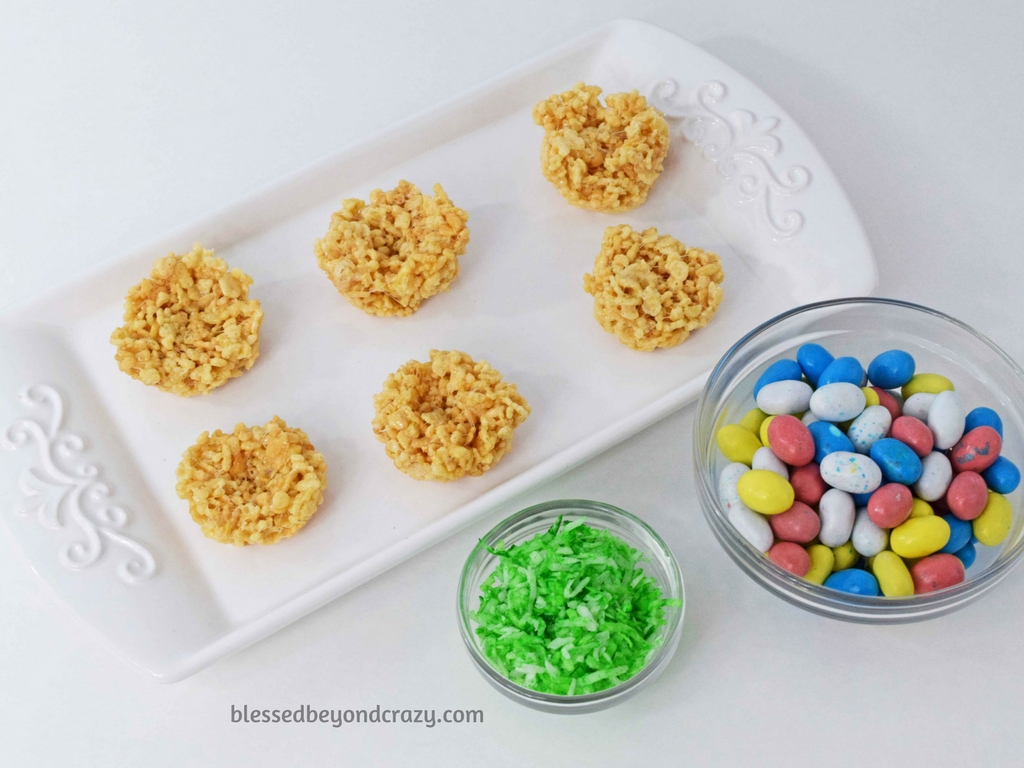 Getting ready to assemble No-Bake Rice Krispie Easter Egg Nests