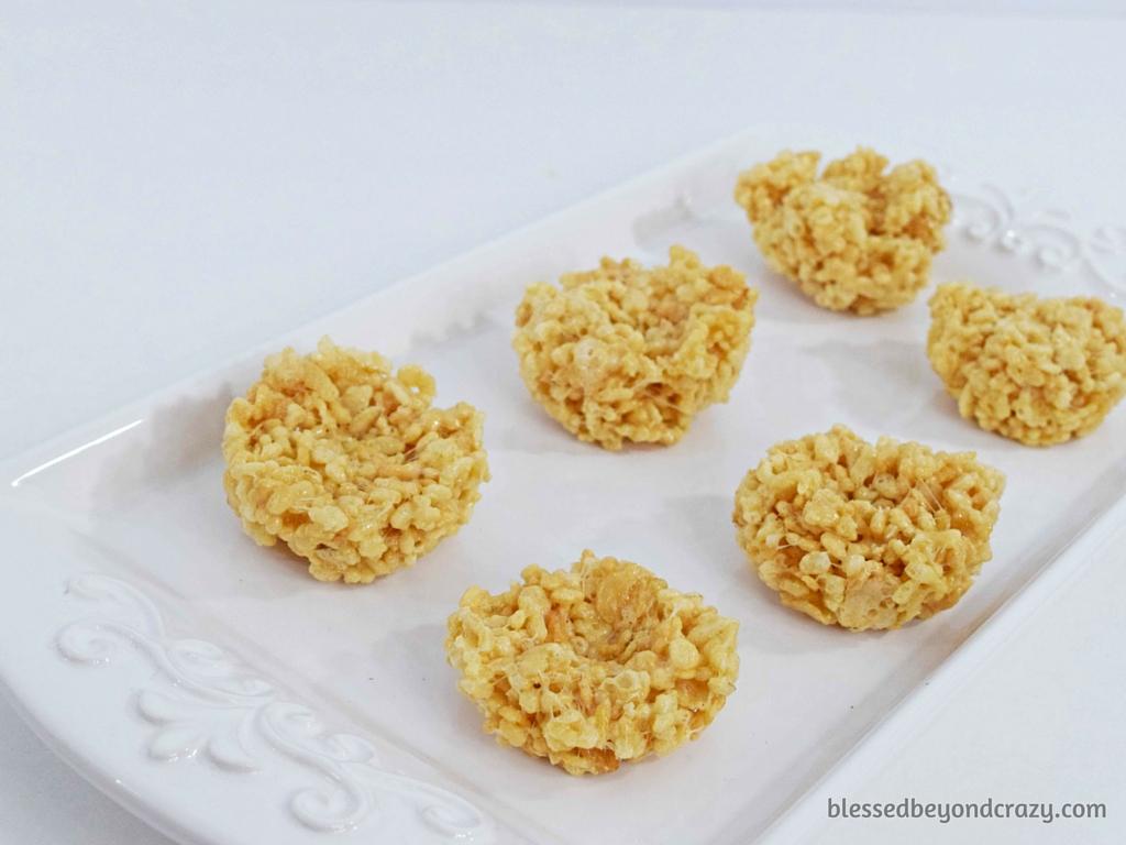 "Creating the ""nest"" for No-Bake Rice Krispie Easter Egg Nests"