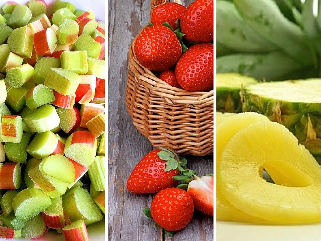 Rhubarb Strawberries Pineapple