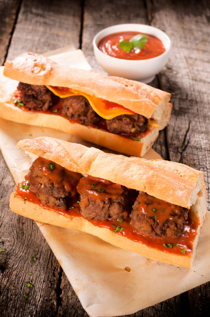 Two homemade sandwiches with meat balls