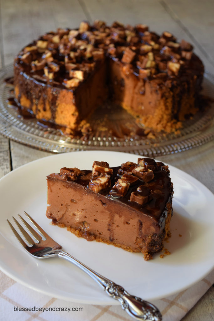 Sliced Snickers Chocolate Cheesecake