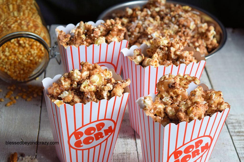 SkinnyPop German Chocolate Caramel Popcorn boxed and ready to serve