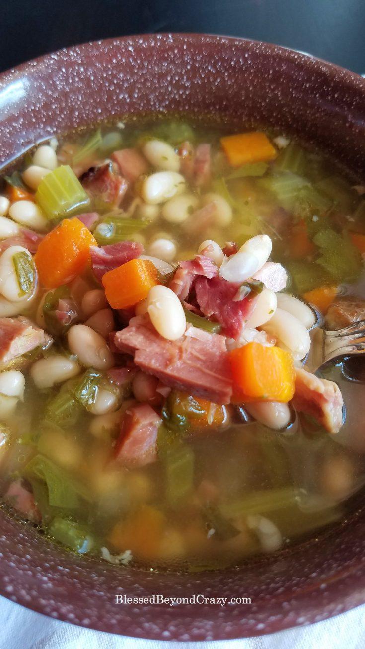 Easy Crockpot Ham and Bean Soup