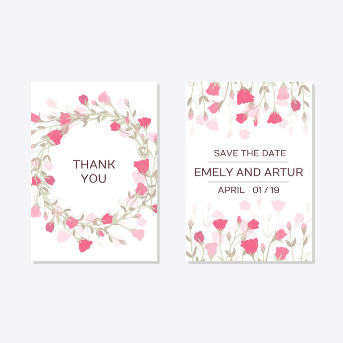 Tender floral design for romantic DIY wedding invitation