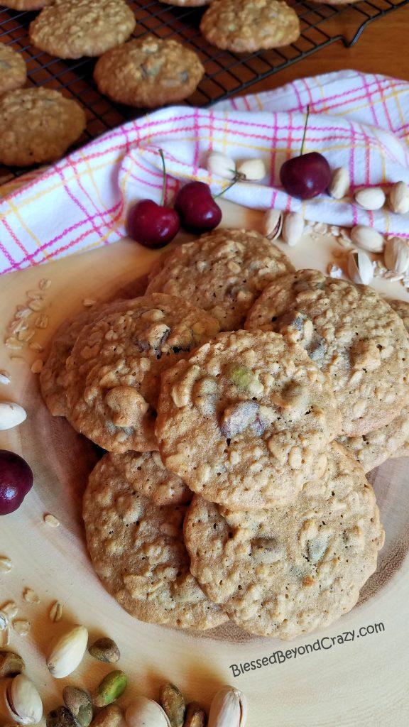 Cherry Pistachio Oatmeal Cookies Overhead View