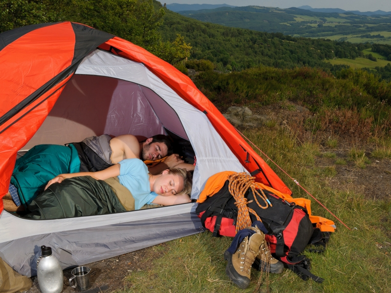 Sleeping campers sleeping with ultralight backpacking and camping gear