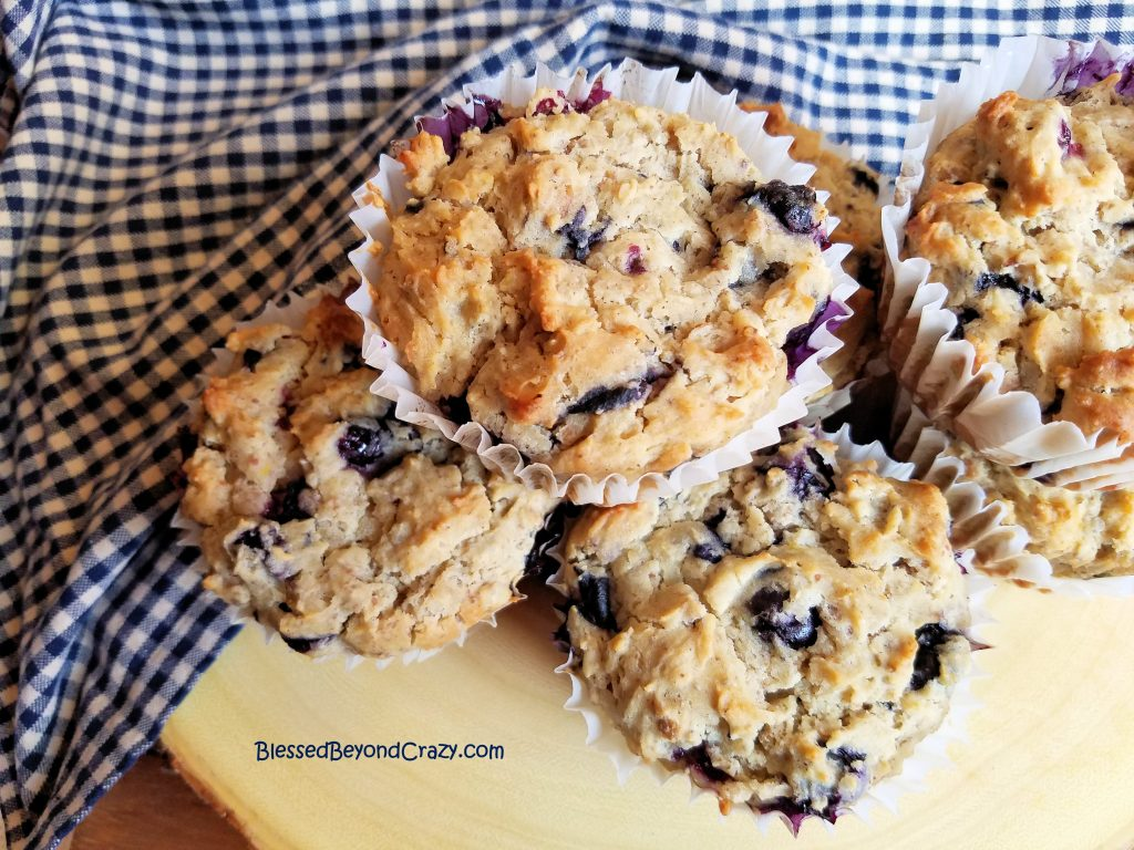 Delicious gluten free blueberry muffins ready to eat.