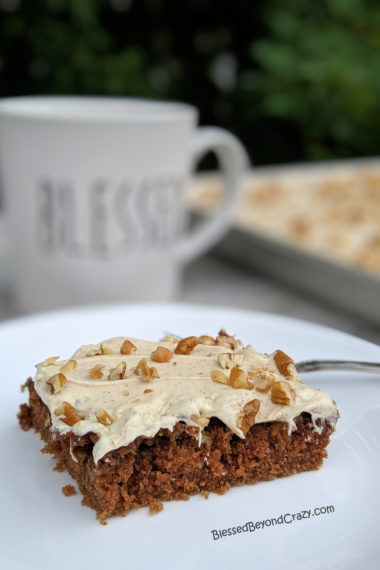 Highlighted serving of Chocolate Espresso Zucchini Sheet Cake