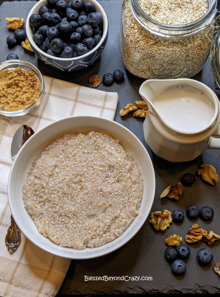 Ready to add toppings to buckwheat porridge
