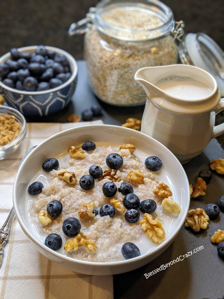 Individual serving of buckwheat porridge