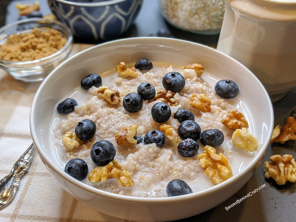 Close up of buckwheat porridge