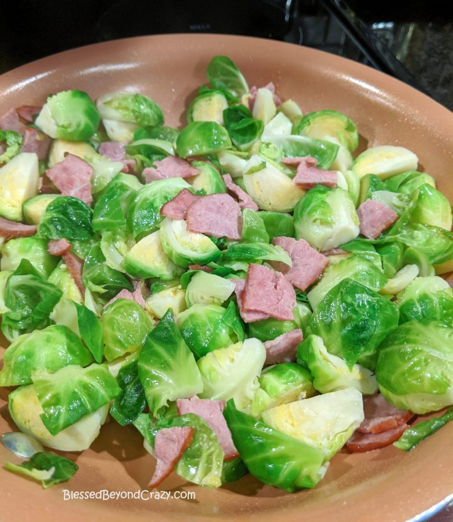Brussel Sprouts in skillet
