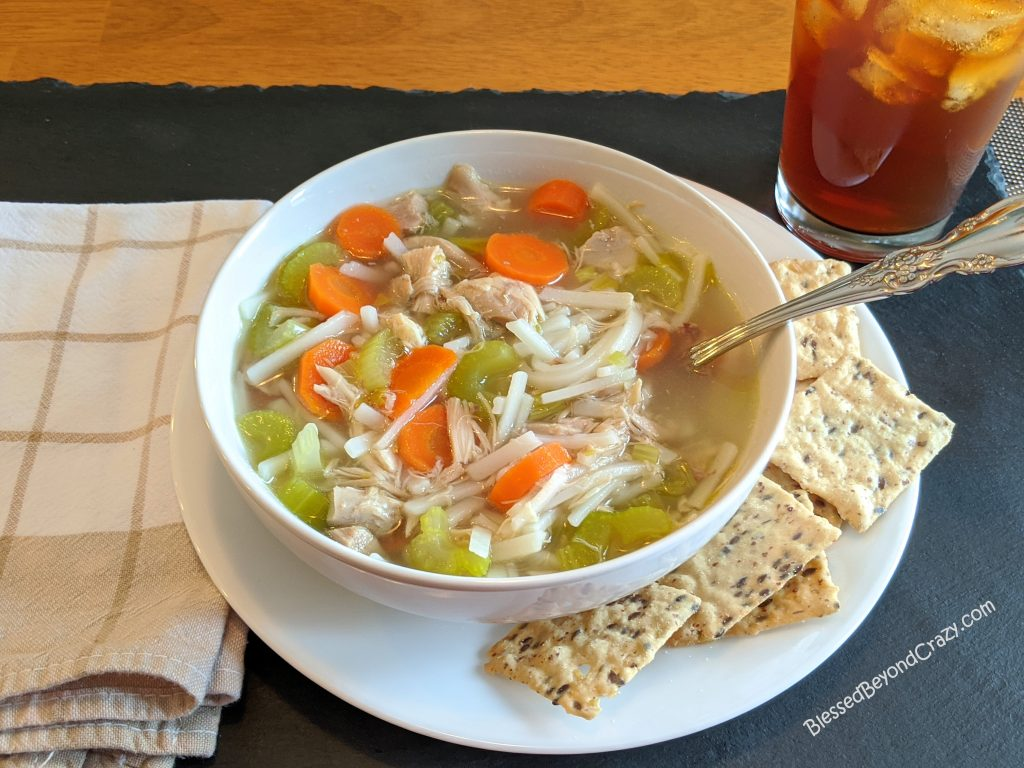 Meal of homemade All-Natural Homemade Chicken Noodle Soup