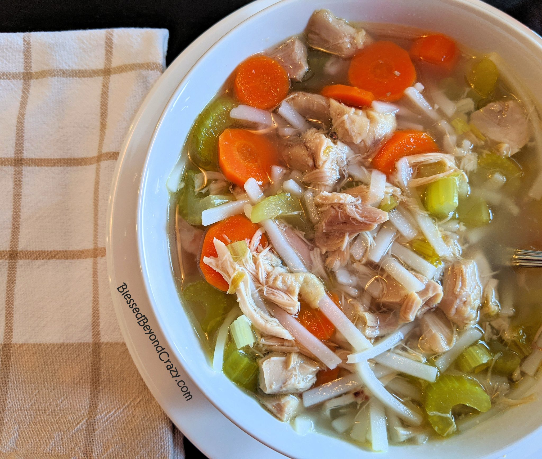 Close up of All-Natural Homemade Chicken Noodle Soup