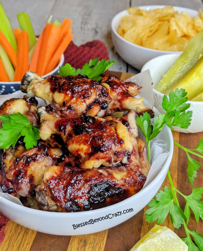 Ready to eat Baked Sticky Blackberry Chicken Wings