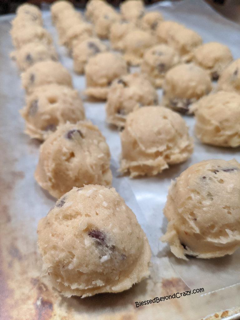 Kid's Favorite Gluten-Free Jumbo Cookies dough balls ready to freeze