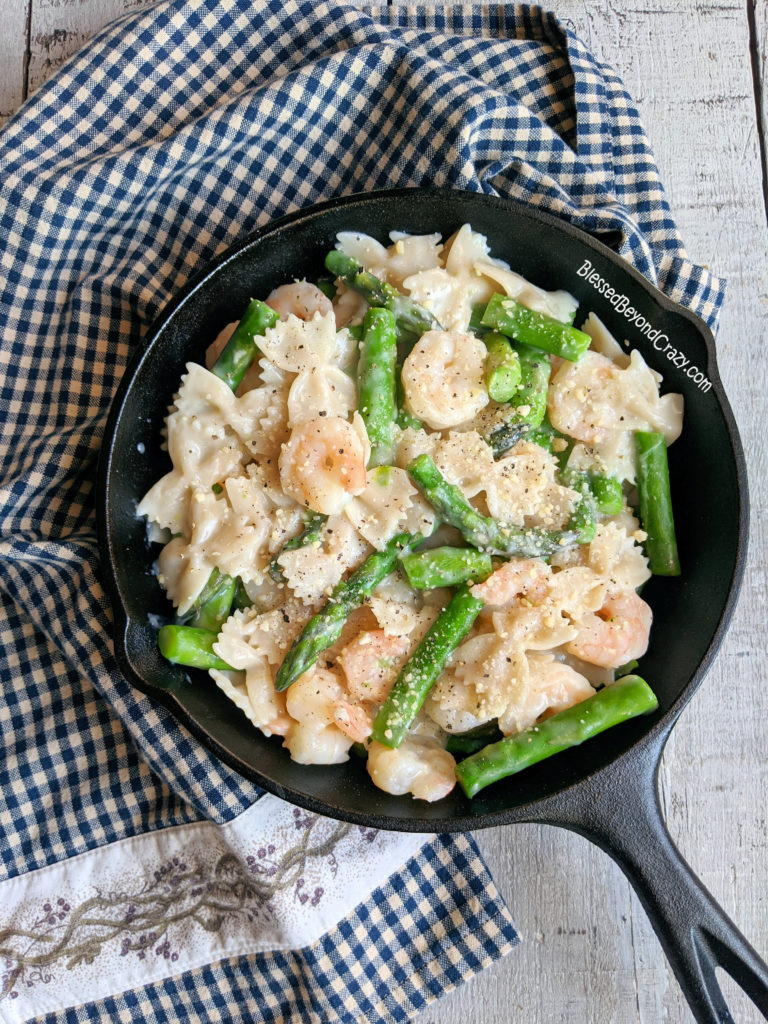 Full Overhead View of Creamy Asparagus Shrimp Pasta Skillet (Gluten-Free)