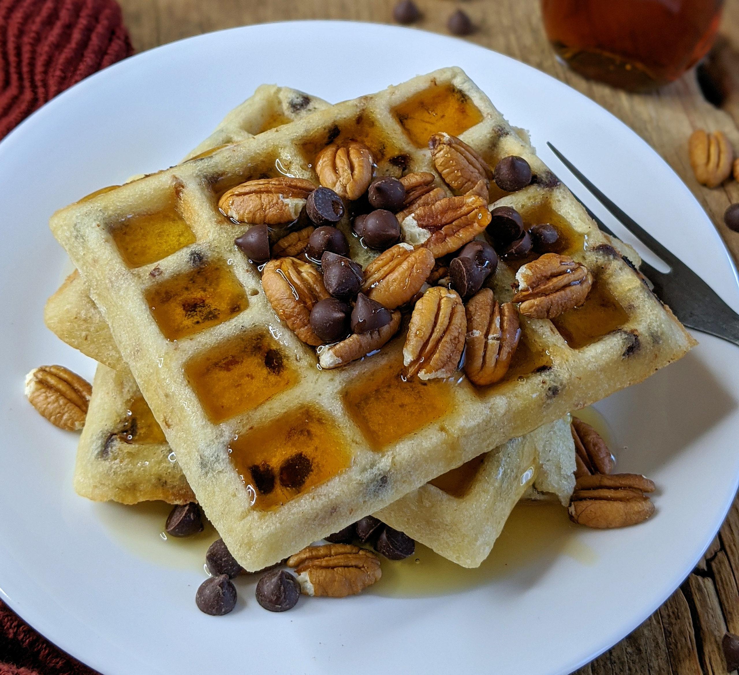 Pecan Chocolate Chip Waffles