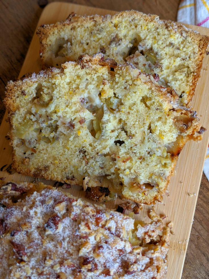 Rhubarb Pecan Orange Zest Bread