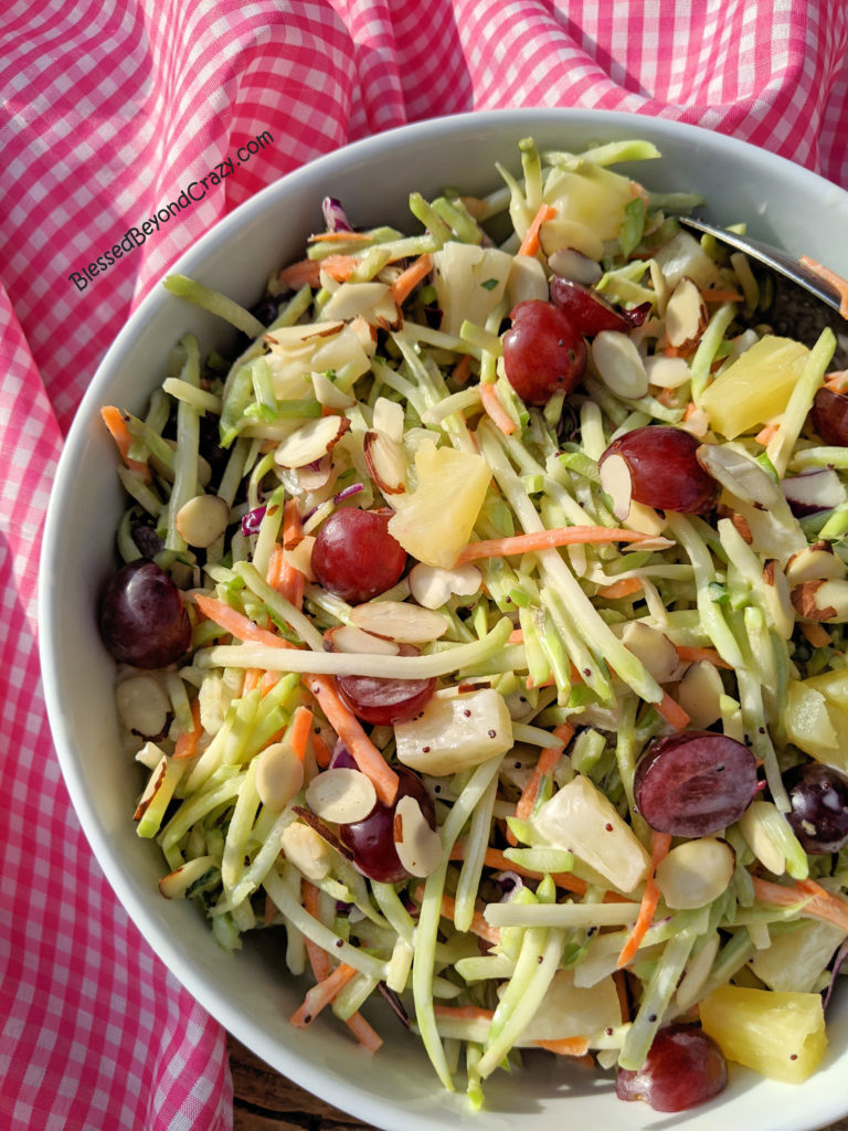 Close up of Easy Broccoli Slaw with Homemade Poppy Seed Dressing