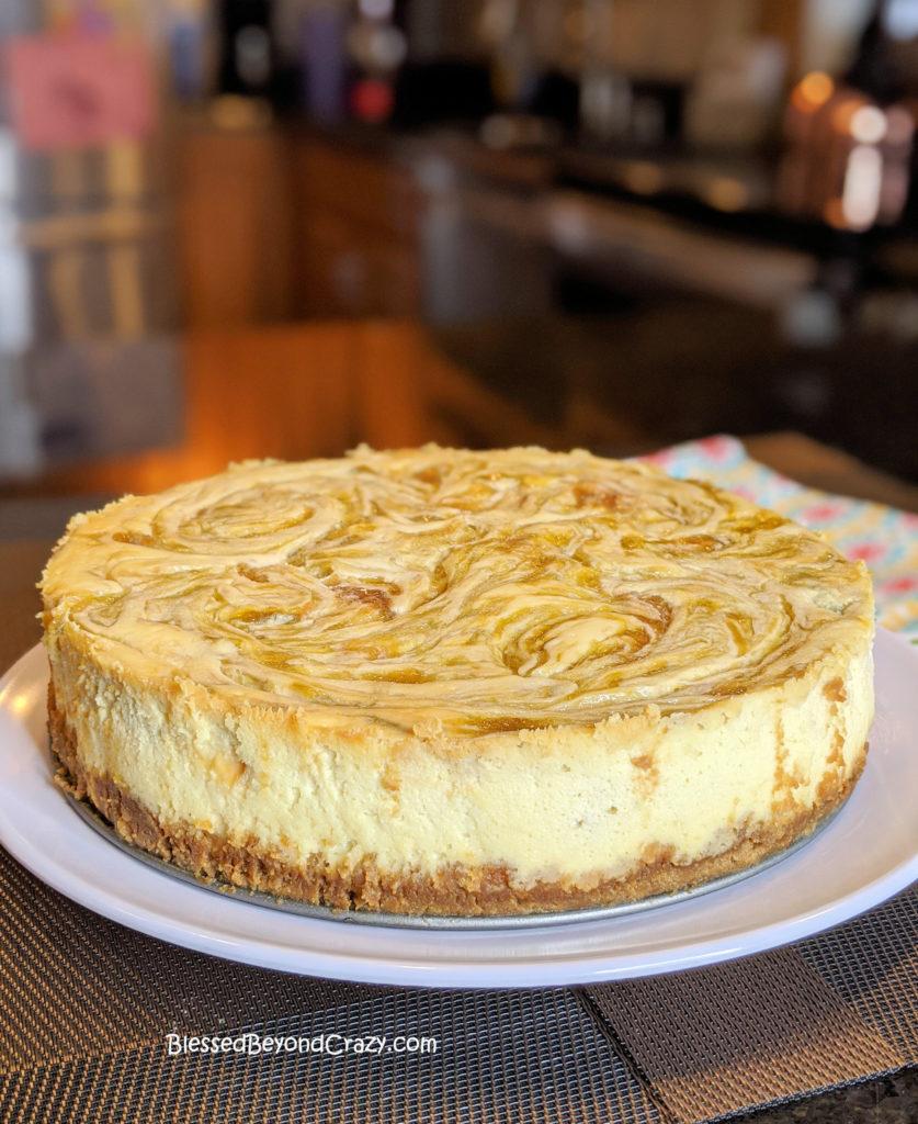 Chilled Rhubarb Swirl Cheesecake