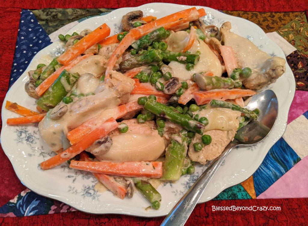 Platter of Easy Gluten-Free Skillet Chicken Primavera