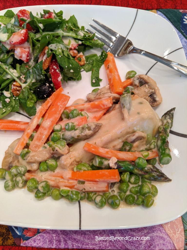 Serving of Easy Gluten-Free Skillet Chicken Primavera