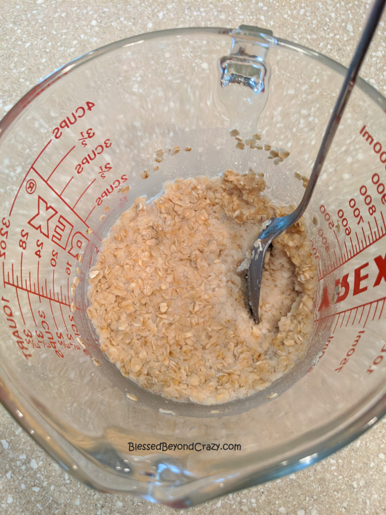 Oatmeal is ready to add to the other ingredients for Easy Oatmeal Bread.