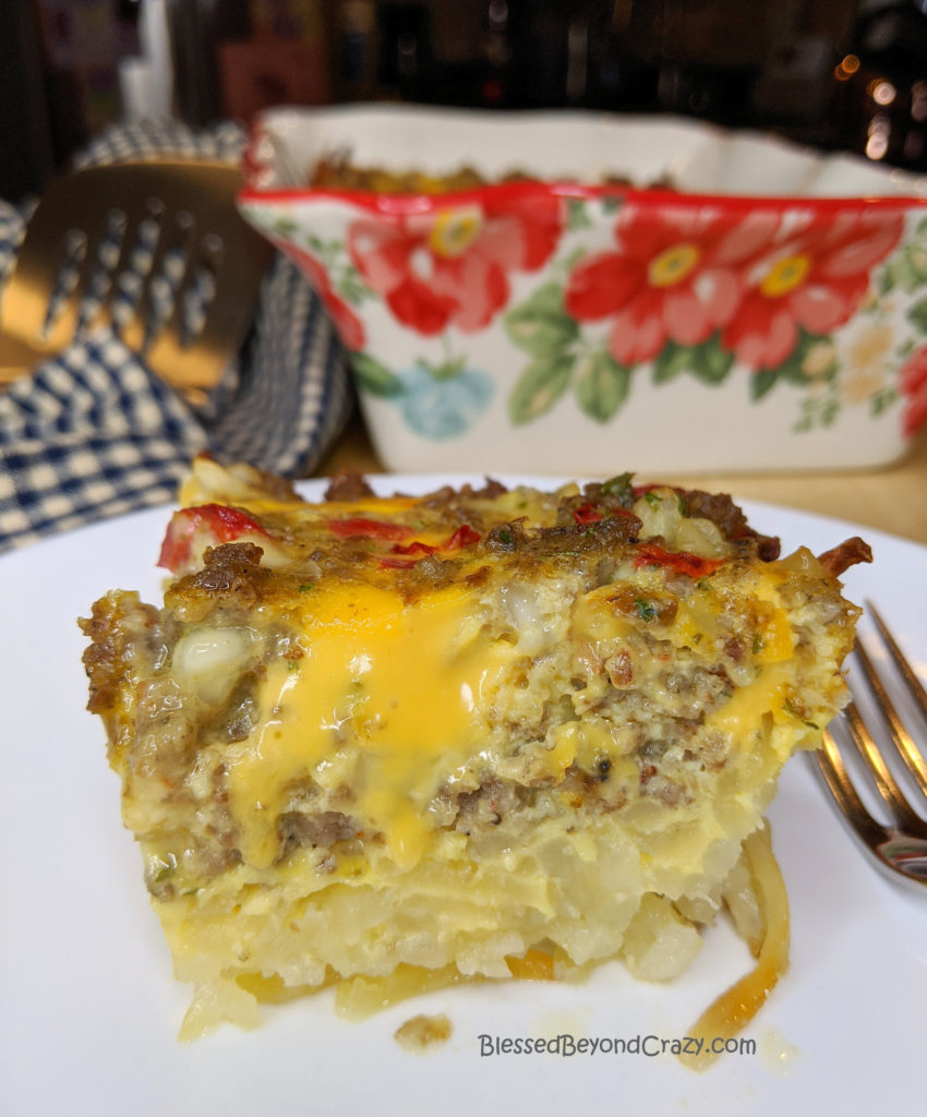 Close-up photo of serving of Simple Gluten-Free Breakfast Casserole