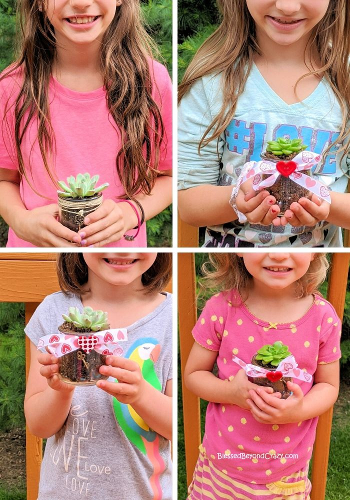 My granddaughters had so much fun making Repurposed Succulent Planters!