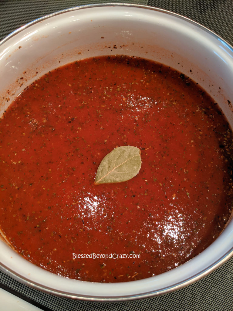A bay leaf added to Homemade Sausage Tomato Soup (Gluten-Free Option)