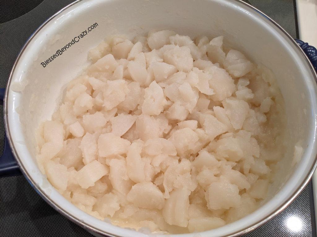 Freshly cooked turnips