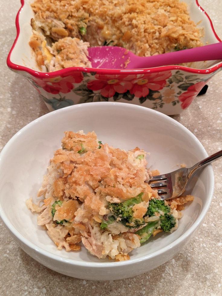 Serving of Easy Chicken Broccoli Casserole (Gluten-Free Option)