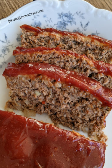 Close up of slices of Grandma's Best Meatloaf Recipe