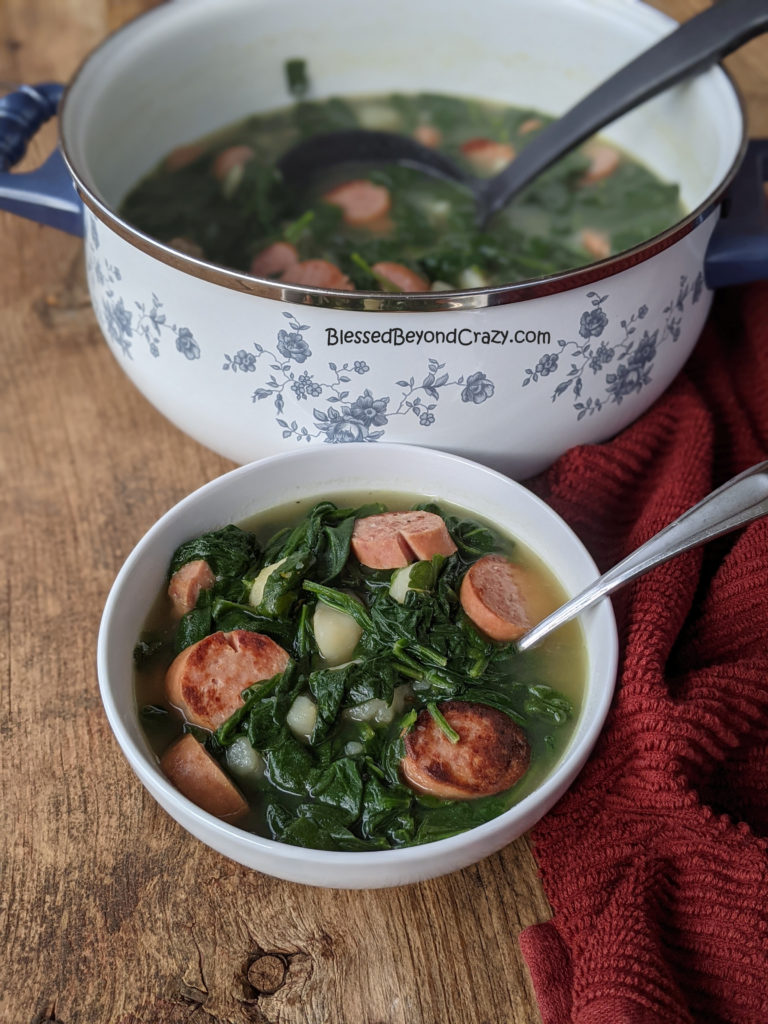 Grandma's Old-Fashioned Spinach Stew ready to serve