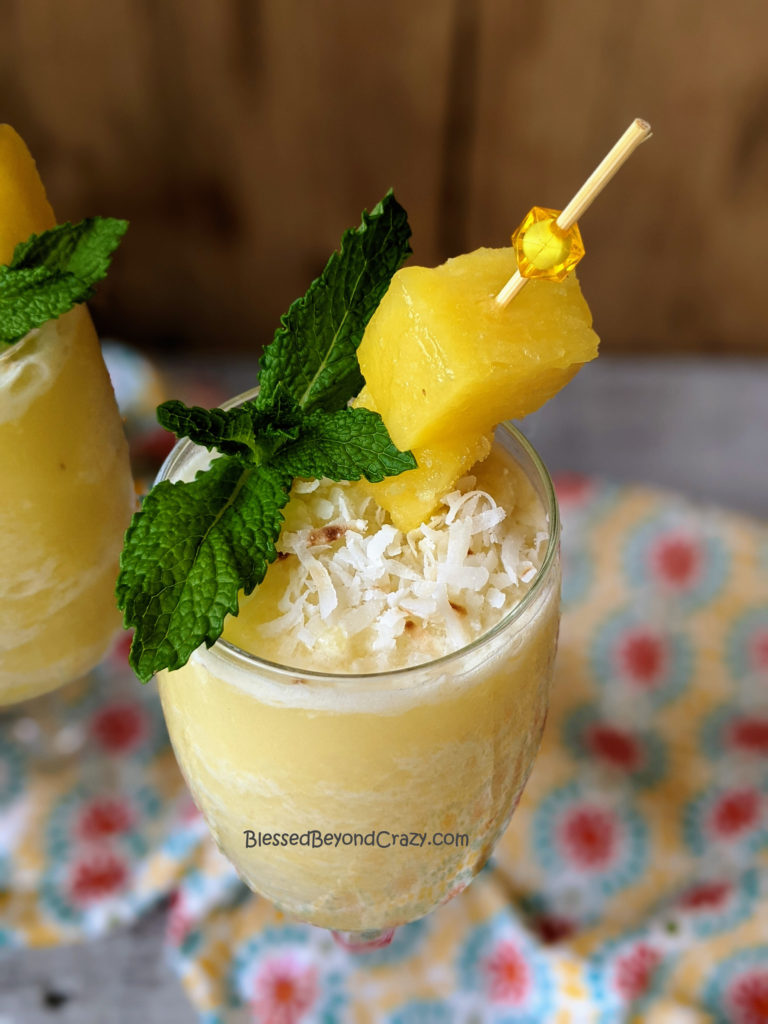 Close up of garnish on Pineapple Colada Smoothies