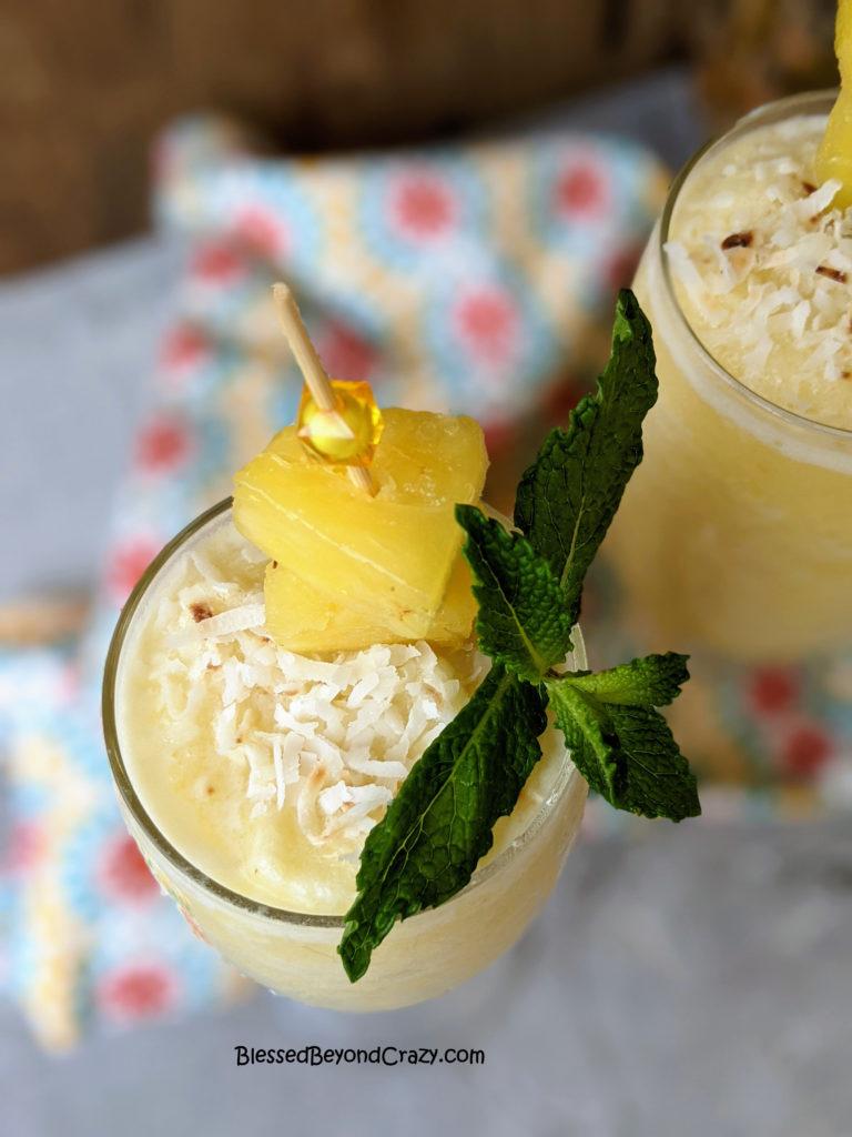 Glasses of Pineapple Colada Smoothies ready to enjoy!
