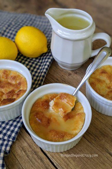 Ready to serve ramekin of Lemon Bread Pudding (Gluten-Free Option)