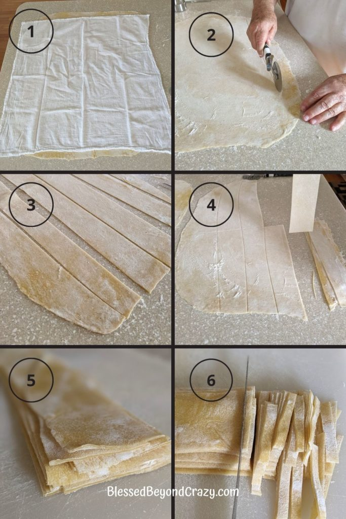 Cutting homemade noodles.
