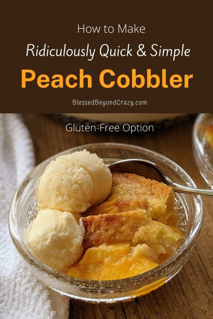 Pinterest Pin for Peach Cobbler